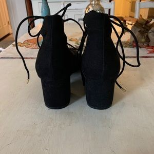 BAMBOO Shoes - Black Suede Lace Up Shoes